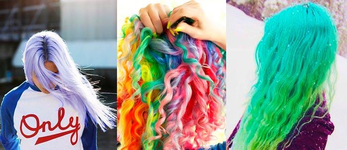 Неоновые цвета волос радуга тренд