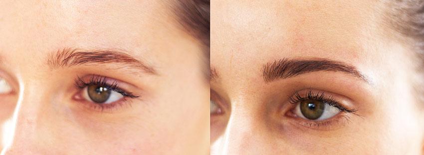 фото до и после ламинирования бровей