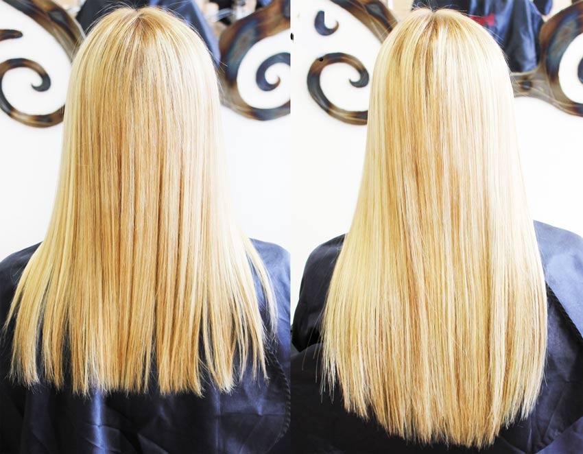 коррекция ленточного наращивания волос по технологии Hair Talk