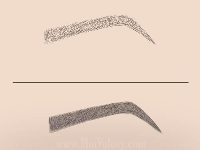 До и после напыления бровей