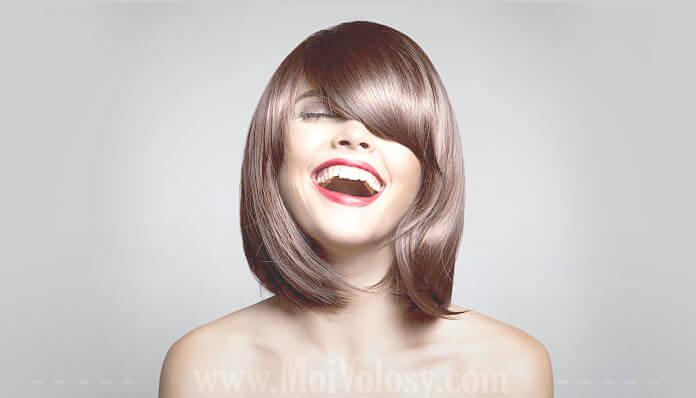 Фото: Стрижка боб с челкой на средние волосы